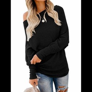 🆕 (L) Black Waffle Knit Pullover Tunic Top